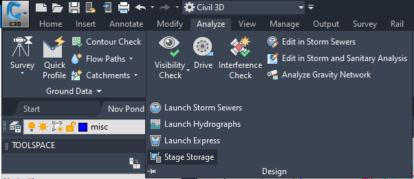 Civil 3D - Stage Storage