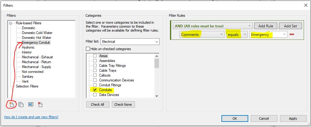 Filters dialog box